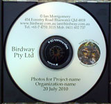 Image ofCD showing Birdway formatting